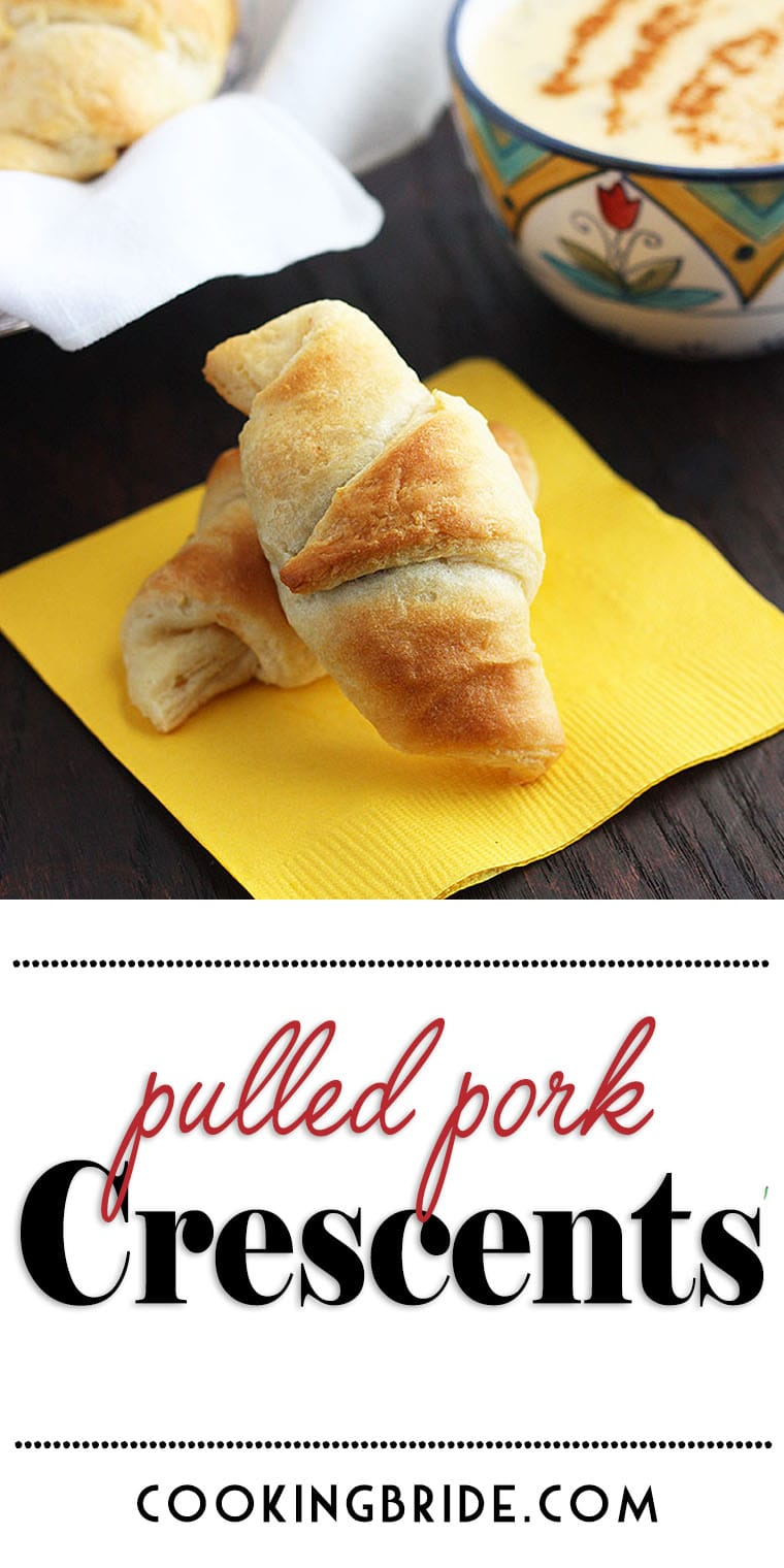 These crescent roll appetizers are stuffed with tender pulled pork and tangy BBQ sauce, then baked until golden brown and flaky. Serve them with a creamy, spicy homemade nacho cheese sauce dipping and you've got the perfect mouthful.