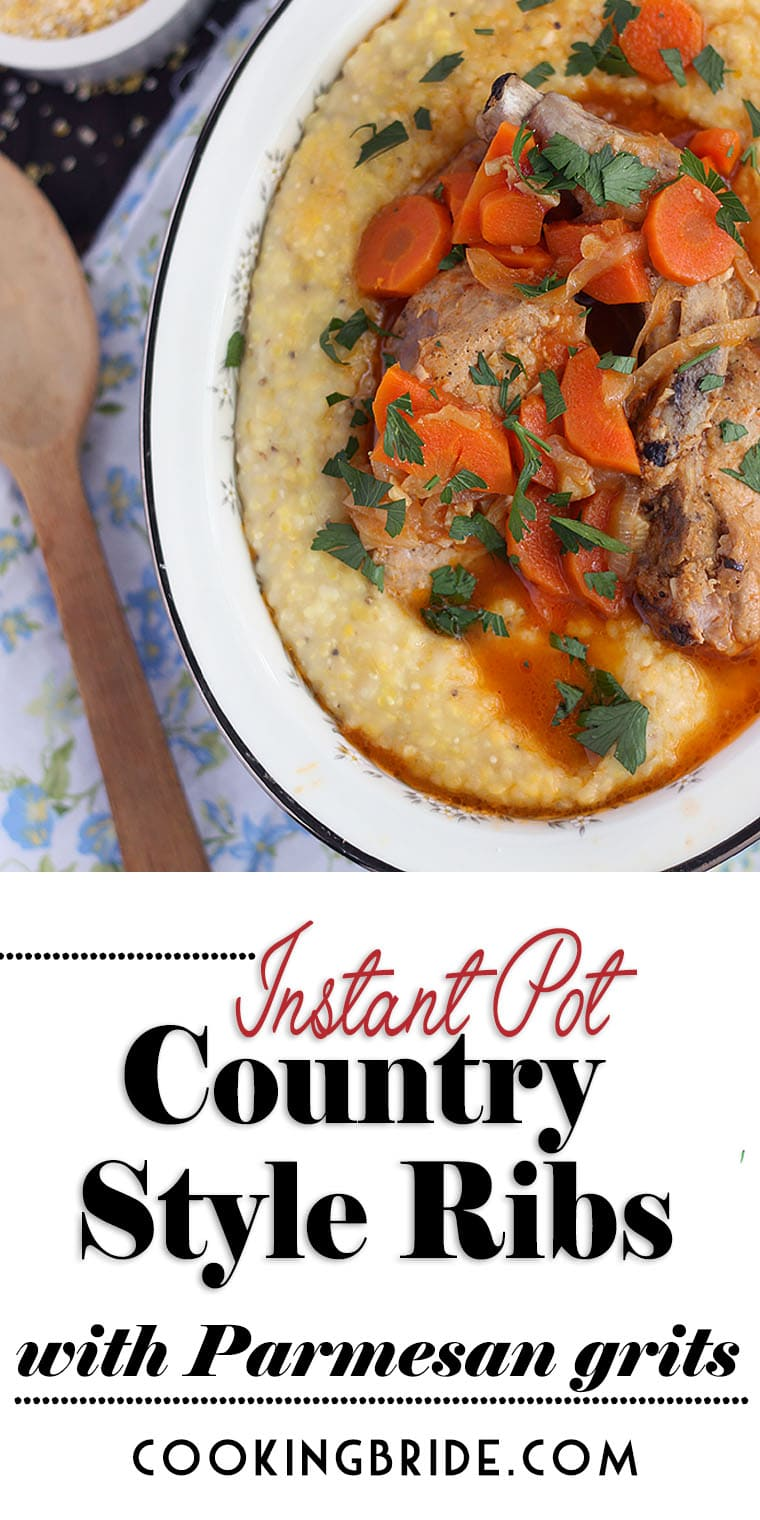 Instant Pot country style ribs with Parmesan corn grits is a one pot meal. Learn how to cook these tender pork ribs and creamy grits using the PIP method.