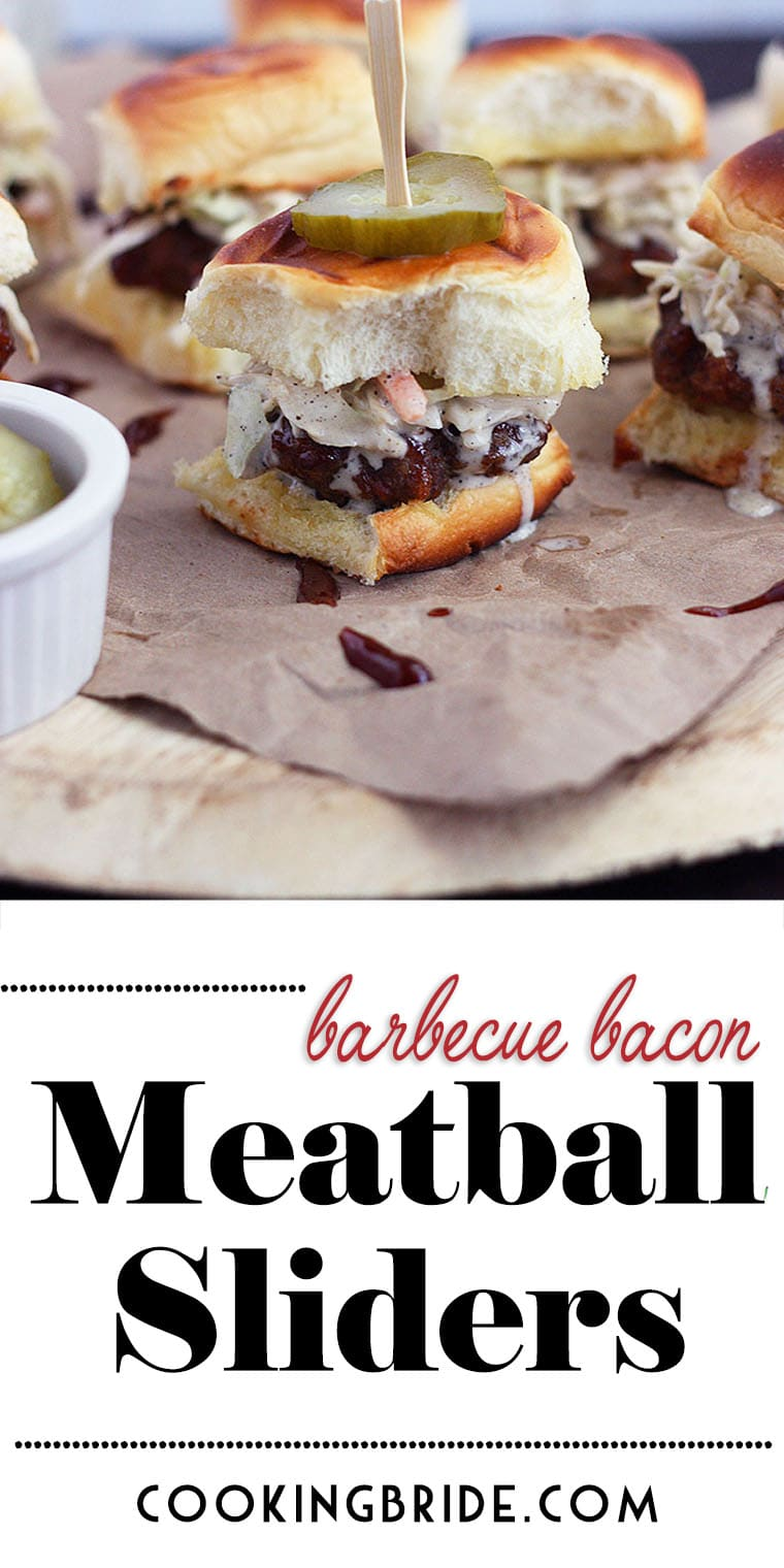 These tasty meatball sliders have ground bacon mixed right in! Topped with creamy coleslaw and served on sweet Hawaiian rolls, it's a match made in heaven.