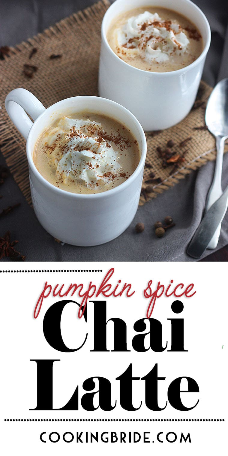 Pumpkin pie chai latte is better (and cheaper) than anything you can buy at a coffee shop. This simple recipe combine chai concentrate with whole milk, maple syrup and pumpkin puree. Can be served hot or cold.