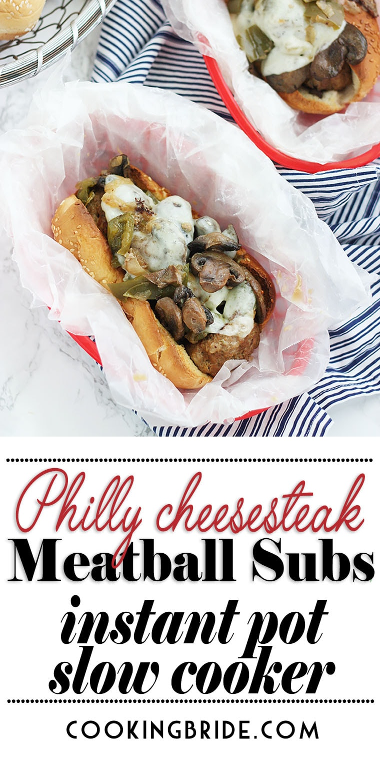 Philly Cheesesteak Meatball subs are a cinch to prepare in an Instant Pot or slow cooker. Beef meatballs are loaded with bell peppers, mushrooms and cheese.