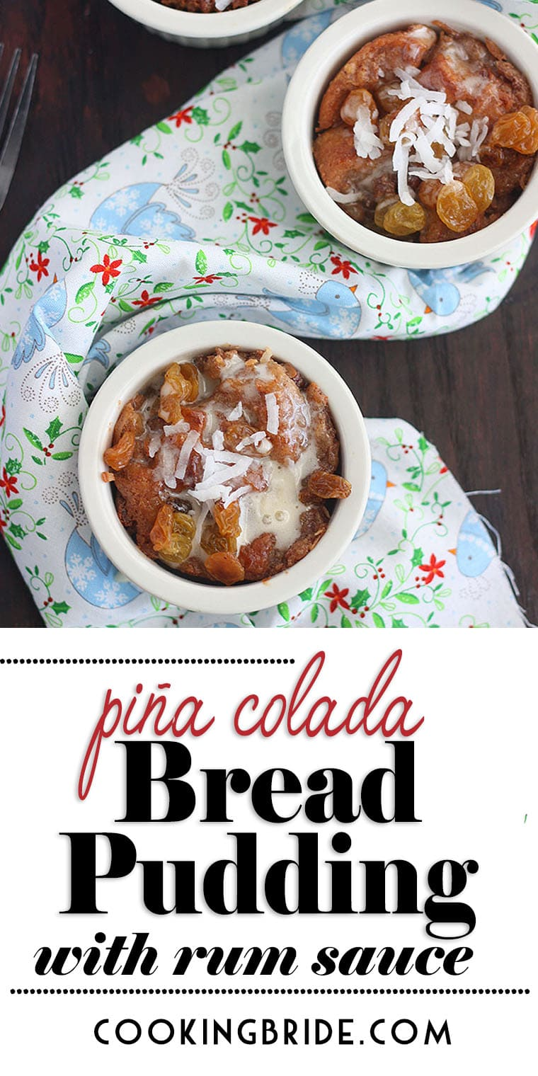 Piña Colada Pineapple Bread Pudding hasa tropical twist with crushed pineapple, golden raisins, shredded coconut and pina colada mix.
