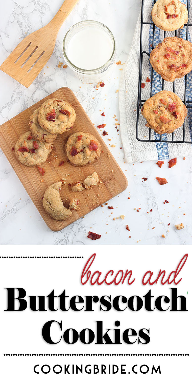The flavor of these tender butterscotch cookies is enhanced with salty, smoky chopped bacon. The combo is addictive and you won't be able to eat just one.