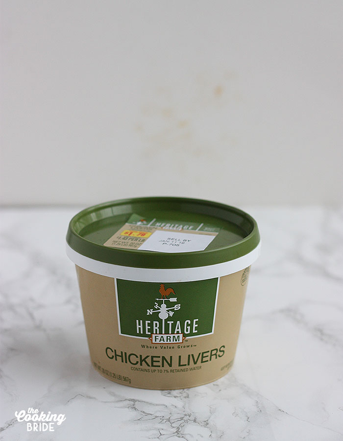 container of chicken livers