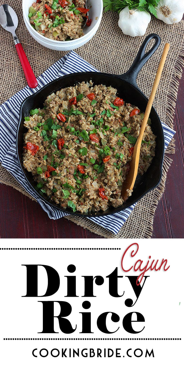 Classic Cajun dirty rice is a meaty side dish that combines ground chicken livers, ground beef, bell peppers, onion and celery.