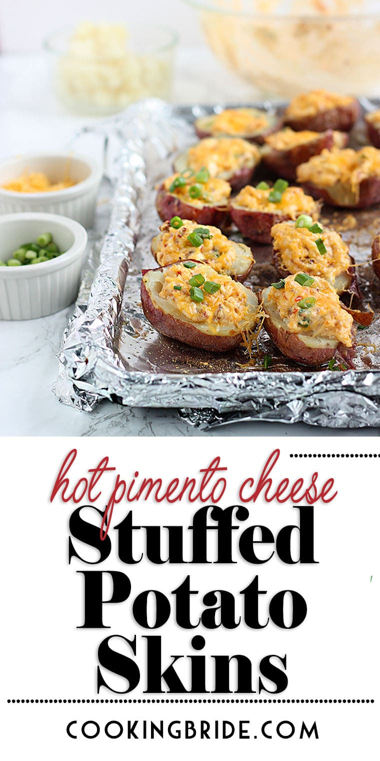 Stuffed potato skins get a Southern makeover when they are stuffed with creamy pimento cheese laced with smoky chilies in Adobo.