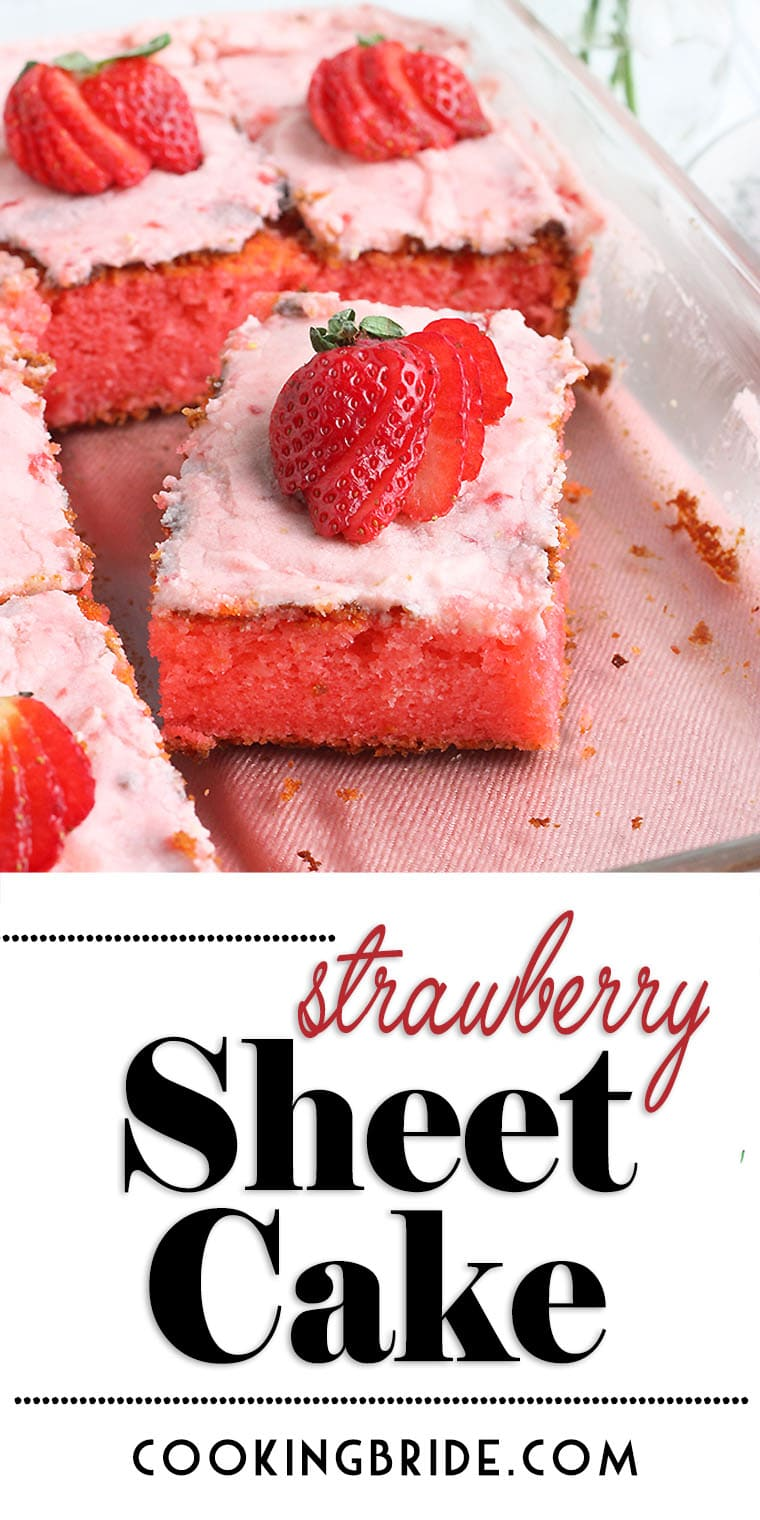 Old fashioned strawberry sheet cake is bursting with strawberry flavor. Strawberry jello and fresh strawberry icing creates an explosion of color and taste.