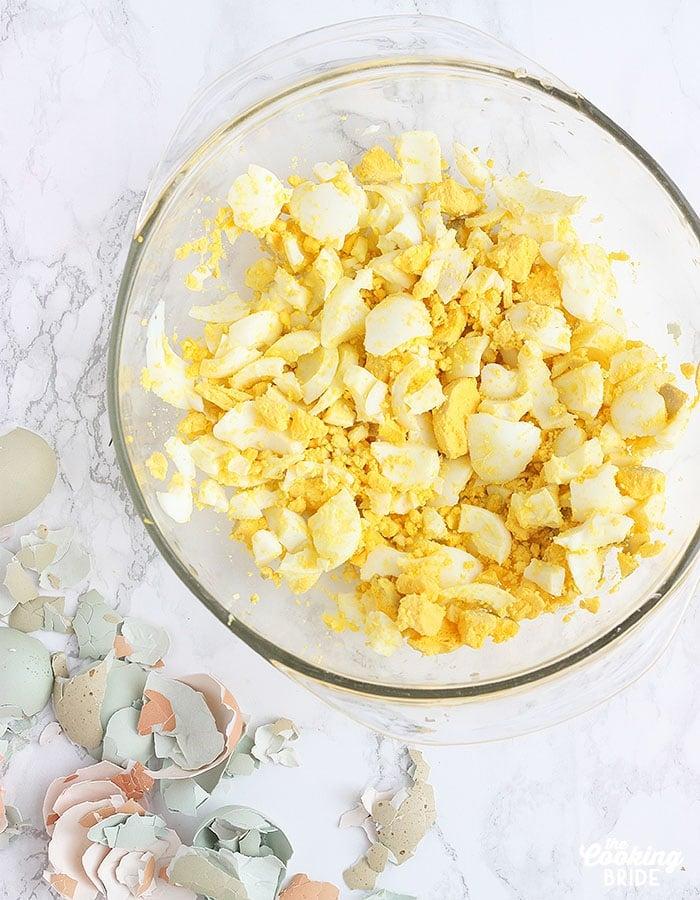 bowl of chopped hardboiled eggs