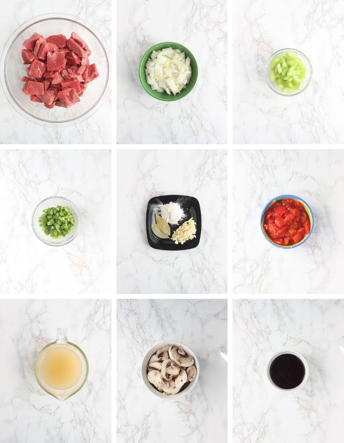 collage of grillades and grits ingredients
