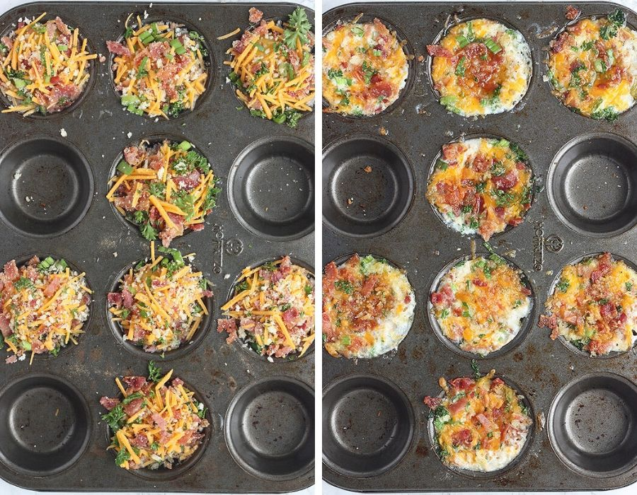 Unbaked eggs with toppings in a muffin pan on the left. Baked eggs in muffin pan on the right.