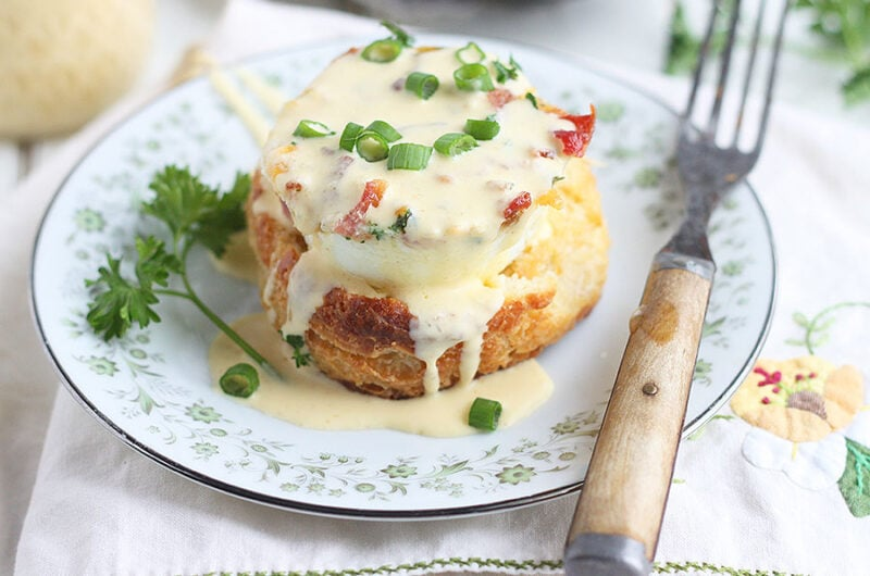 oven baked egg on a biscuit drizzled with Hollandaise