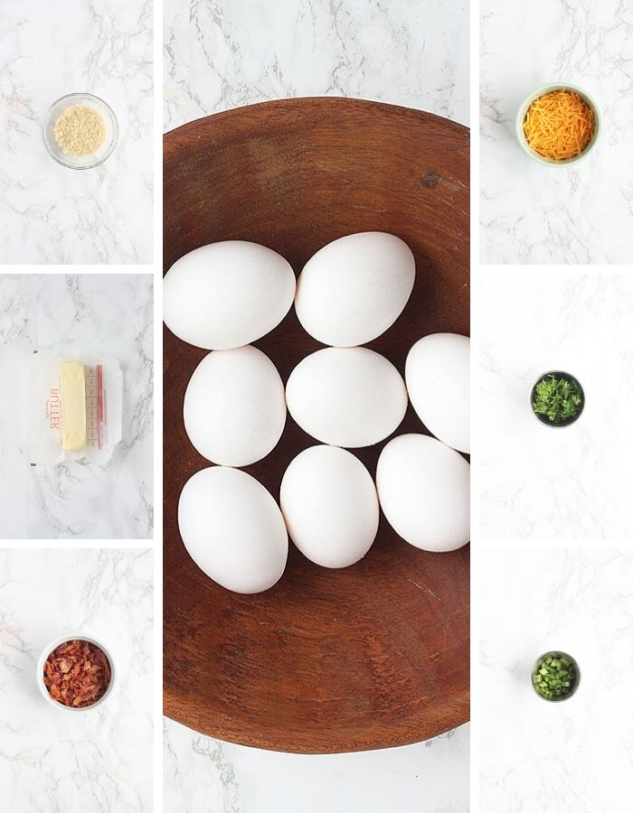 oven baked eggs ingredients including breadcrumbs, butter, bacon, eggs, cheese, parsley and green onions