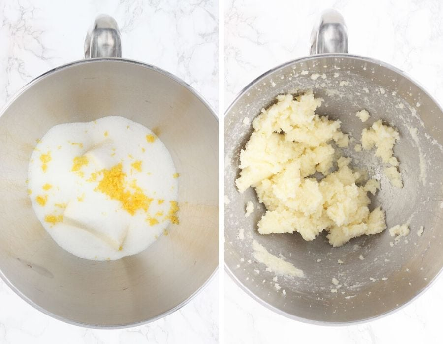 butter, sugar and lemon zest on a metal mixing bowl on the left. Creamed butter and sugar on the right.